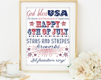 fourth of july printable art 4th of july printable art fourth of july subway art fourth of july poster independence day printable poster art