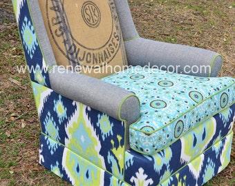 "Custom Order - Vintage Swivel Club Chair - ""Nicole's Custom Swivel Club Chair"" - SOLD"