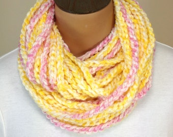 Crochet Chain Necklace Scarf Pink and Yellow Scarf