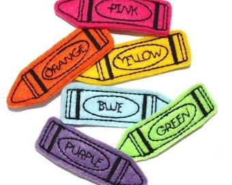 UNCUT Back To School Crayon applique embellishments (4)
