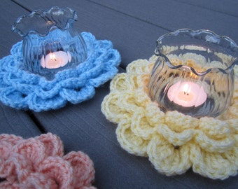 Crochet Flower Candle Ring, Flower Tea Light Holder, Crochet Votive Holder by CROriginals