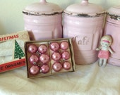 LAST ONE/Antique pink shabby chic/ cottage/ mercury glass small Christmas ornaments