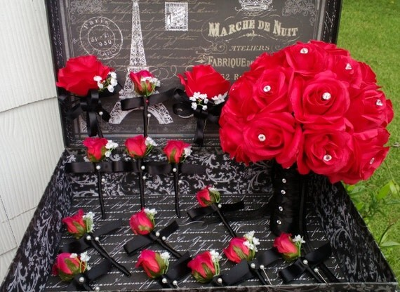 17 Piece Red Rose Wedding Bouquet Set Bridal Black Hollywood