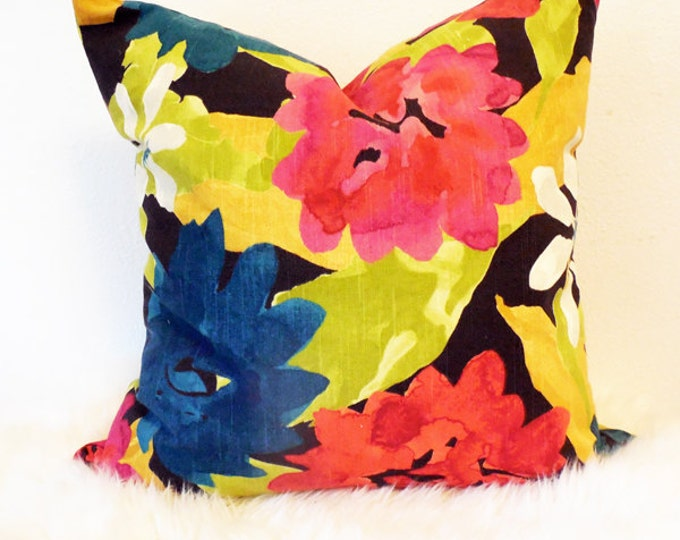 modern, colorful floral print pillow