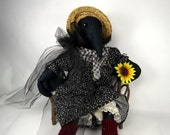 "Crow Stuffed Fabric Doll, ""Cornelia Crow"", Blackbird, Raven, Stuffed Primitive Crow"