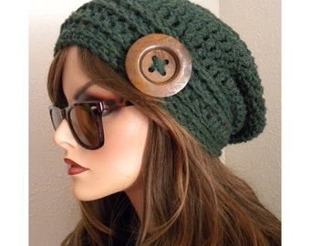 Hunter Green Tweed Boho Chic Slouchy Beanie Hat  Hand Crocheted Large Walnut Wooden Button   Womens Fashion Accessories