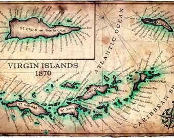 "Virgin Islands Map Art Print c.1780 - 11"" x 17"" - St. John - St. Croix - Virgin Gorda - Anegada - Virgin Islands - BVI - USVI - Island Maps"