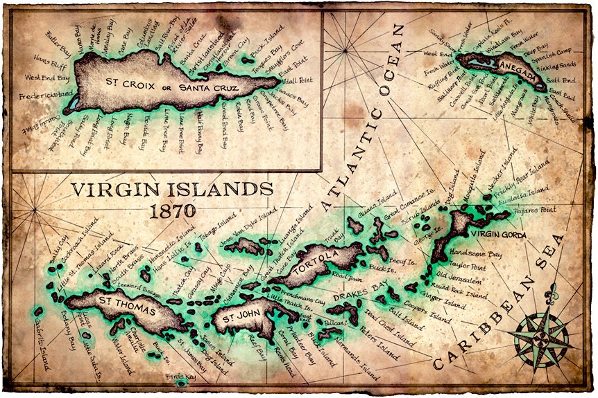 Virgin Islands Map Art Print C X - Map of st john us virgin islands