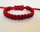 Red men's leather bracelet . macrame hadmade bracelet. men's red  bracelet. handcrafted bracelet