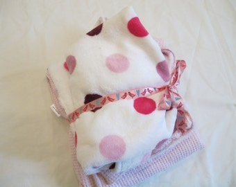 pink pock a dot cuddle fabric and cotton waffle fabric baby blanket with pouch ready