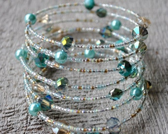 Multi Strand Aqua Blue Bracelet with pearls and crystals Memory wire bracelet Dangle bracelet