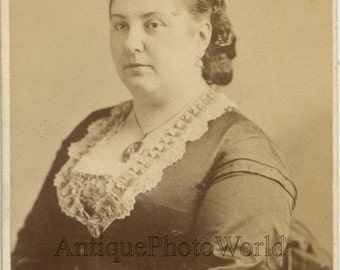 Euphrosyne Parepa-Rosa UK opera singer antique CDV photo by Gurney