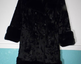 Vintage Black Faux Fur Coat Small Made by Lynkafur for Priscilla Modes Small