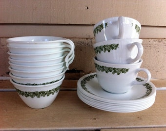Vintage Corell Cups and Saucers- Daisy Design
