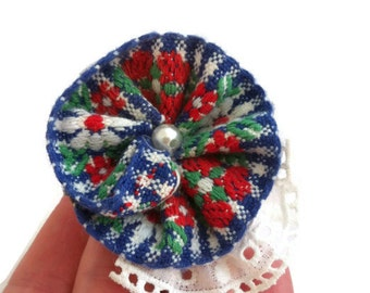 VINTAGE flower non slip hair clips, BLUE and RED flower, Limited Quantity!!!