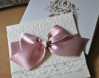 Dusty Rose and Ivory Baptism Invitation with Lace and Glass Beads Cross