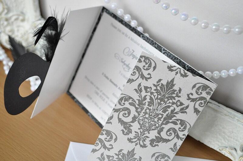 Masquerade Wedding Invitations: Black White And Silver Masquerade Invitation For Wedding