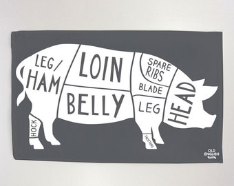 Pork Butcher Tea Towel - Dish Cloth - Kitchen Towel - T19