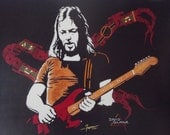 "David Gilmour of Pink Floyd is a Limited Edition Print, numbered, 10""x13"" of Original Art by Artist Charles Freeman -10""x13"""