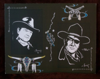 """JOHN WAYNE is a Limited Edition 10""""x13"""" numbered Print by Artist Charles Freeman"""