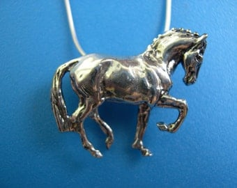 Dressage horse pendant  STERLING SILVER pendant and chain Equestrian jewelry