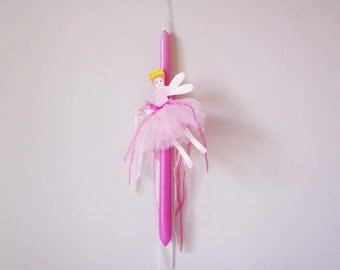 Greek Easter candle with pink ballerina, fuchsia pink candle with tin ballerina cutout and real tutu skirt, unique, hand painted