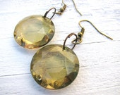 Olive Green Drop Earrings, Resin 'Crystal' Dangle Earrings, Antiqued Brass Findings, Upcycled, Eco-Friendly Jewelry, Lightweight Earrings