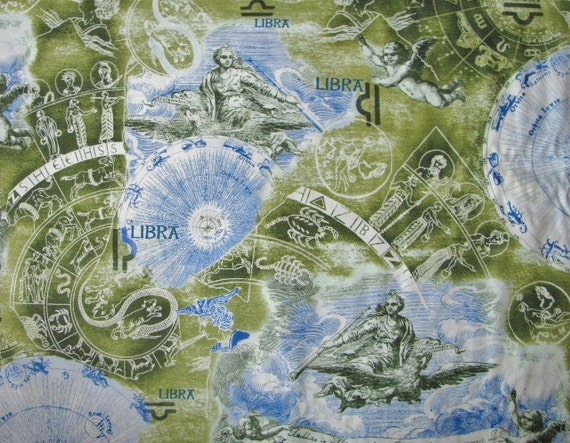 Libra fabric zodiac fabric horoscope blue green cotton by the for Astrology fabric