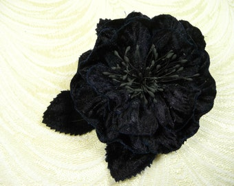 Midnight Blue Velvet Rose Millinery Flower Dark Navy  for Hats, Corsage, Crafts, Hair Clip 3FN0080N