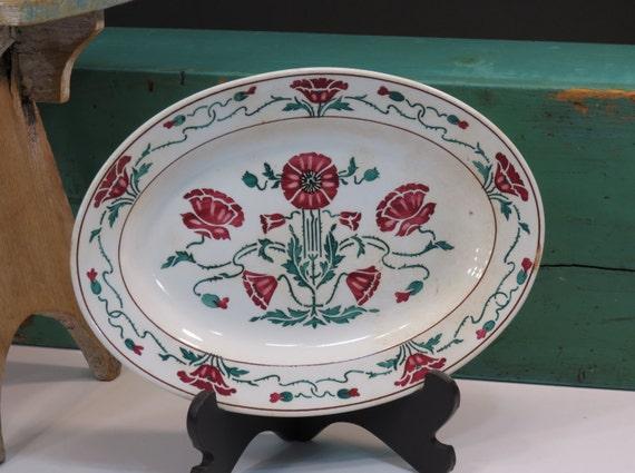 antique dresden oval plate villeroy boch circa 1900. Black Bedroom Furniture Sets. Home Design Ideas