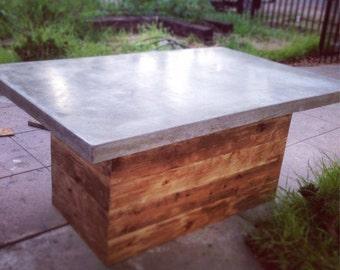 Good Concrete Kitchen Table, Custom Dining Table. Outdoor Furniture Patio OK.  Concrete Kitchen Island