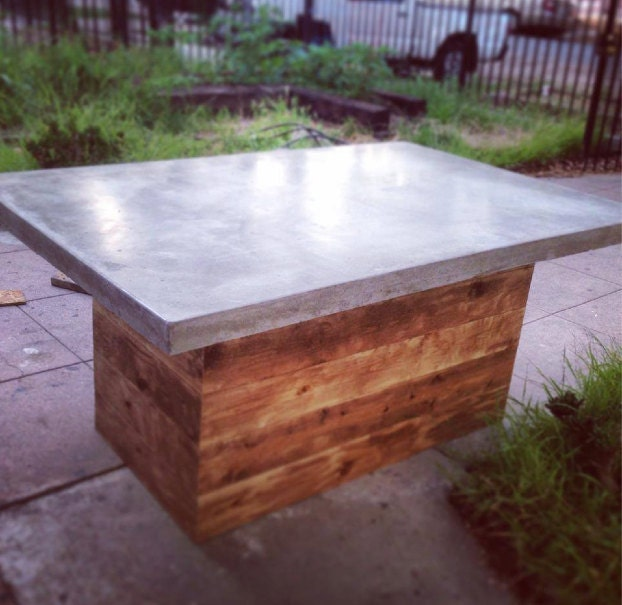 Concrete kitchen table custom dining table outdoor furniture for Concrete kitchen table