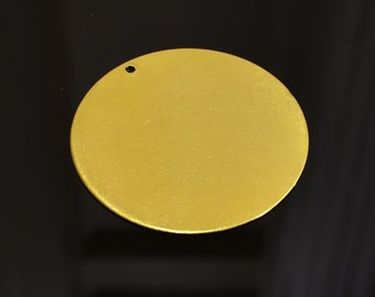 5 Pieces Raw Brass 40 mm Huge Stamping Disc -1 Hole