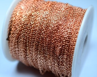 99 Feet 30 Meter Copper 1.5x2 mm Oval Soldered Chain