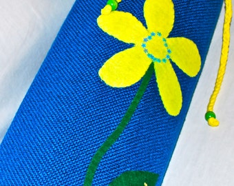 Yoga bag - blue with yellow flower