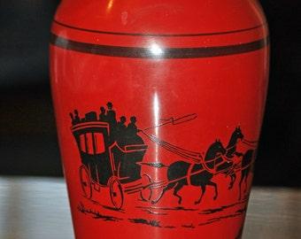 Vintage Crayon Red Stagecoach Vase