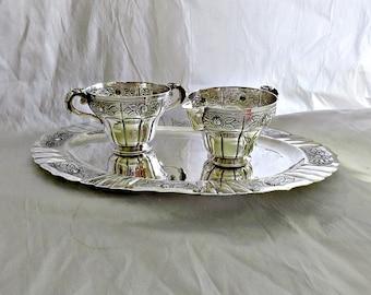 Antique Silver Creamer Sugar Set, Sterling Tray, Silver Mexico Creamer Sugar Tray Set,  Circa 1940s