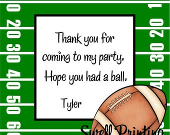 Printable Personalized 3-inch square Football Party Favor Tag or Label Football by Swell Printing