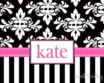10 Personalized Note Cards Damask and Stripes