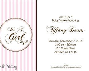 Baby Shower Invitation Pink Stripes Digital Baby Shower Invitation Girl Baby Shower Invitation