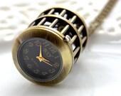 Birdcage Pocket Watch, Gold Bird Pocketwatch, Working Watch, Bird Cage, Vintage Clock Necklace, Small Watch (PW22)