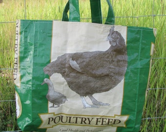 Upcycled Feedbag Tote. Poultry-Chicken-Duck Handmade in Kalispell, Montana USA. FREE USA Shipping