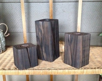 Wood block candle trio