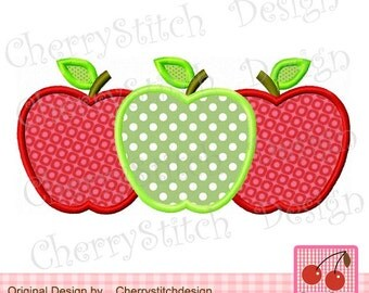 School Apples Back To School Machine Embroidery Applique Design -for 5x7 6x10 hoop