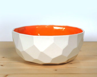 Modern porcelain breakfast bowl - soup bowl handmade in polygons out of porcelain- facetted design - Poligon colored bowl - Bright Orange