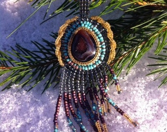 Sun on Bare Branches- Hand- Beaded Smoky Quartz Drusy Pendant Necklace