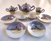 "Miniature lusterware porcelain tea set rural farm scene made in Japan 1950's mid century 4"" saucers"