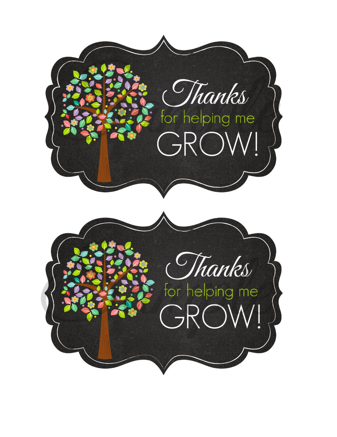 It's just an image of Geeky Thank You for Helping Us Grow Printable