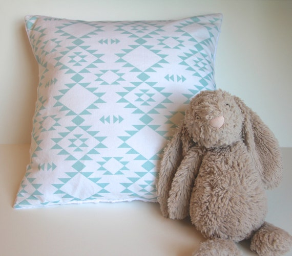 Pale Aqua Throw Pillow : Items similar to Pale aqua mint nursery pillow cover - tribal Navajo Aztec geometric triangle ...