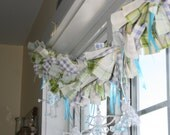 Spring Garland - easter gingham plaid blue purple green ofg canteam prim window decoration